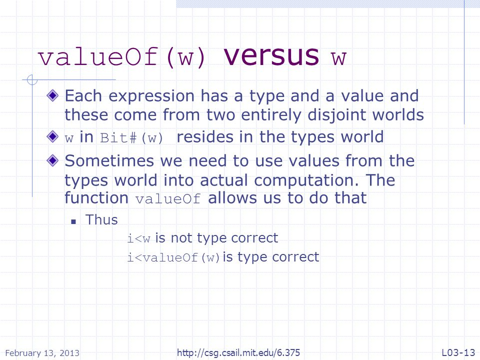 valueOf(w) versus w Each expression has a type and a value and these come from two entirely disjoint worlds.