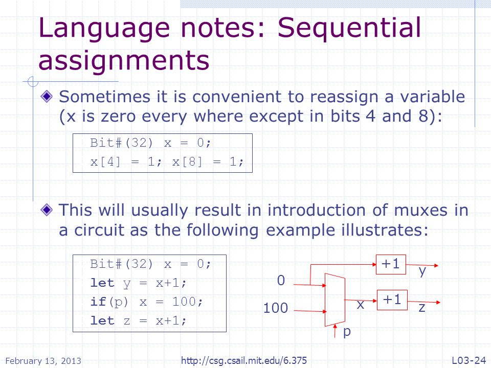 Language notes: Sequential assignments