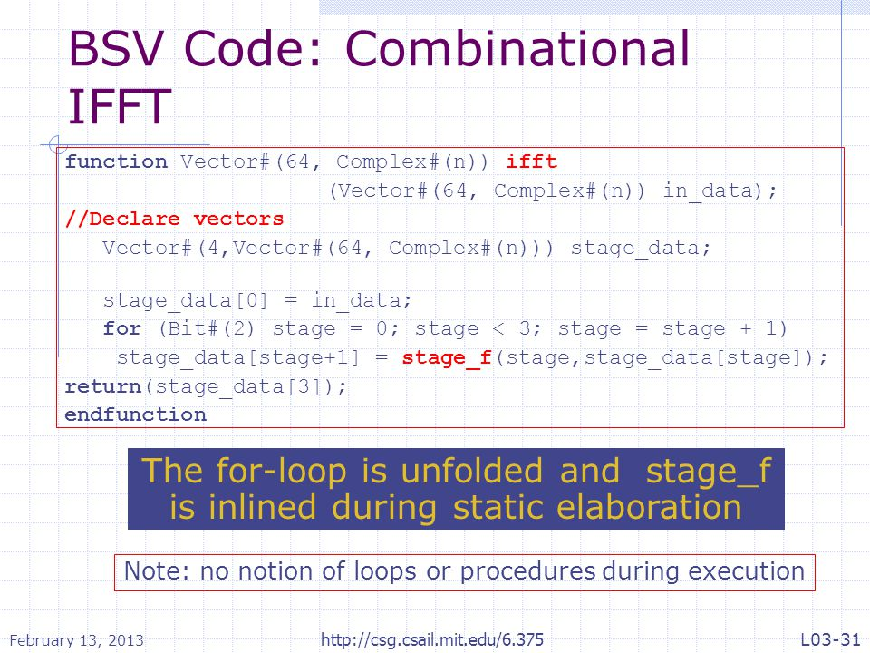 BSV Code: Combinational IFFT
