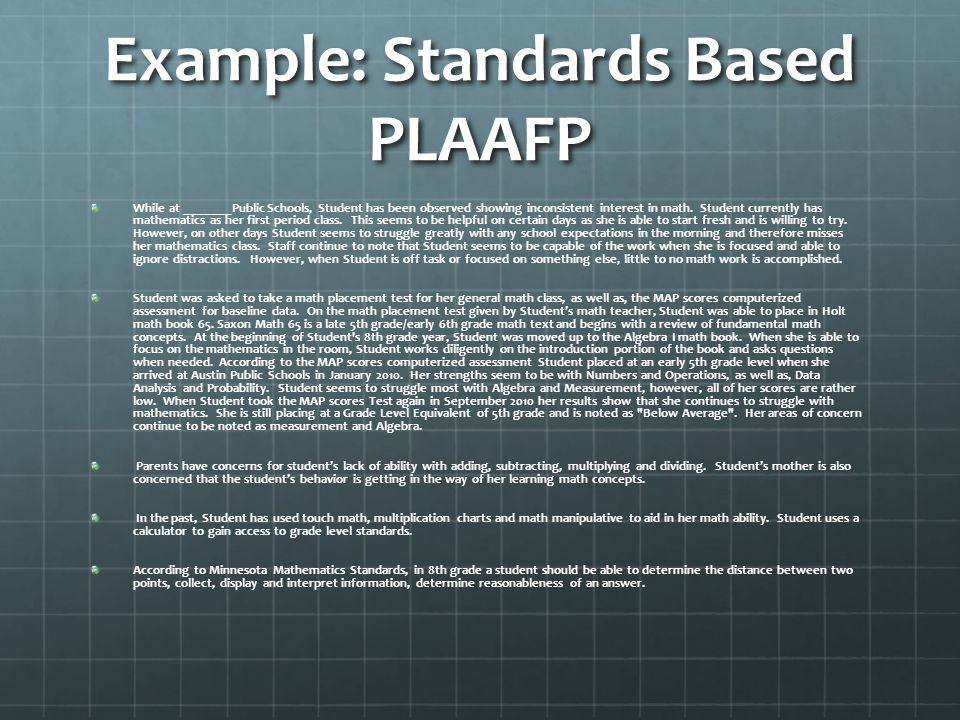 Example: Standards Based PLAAFP