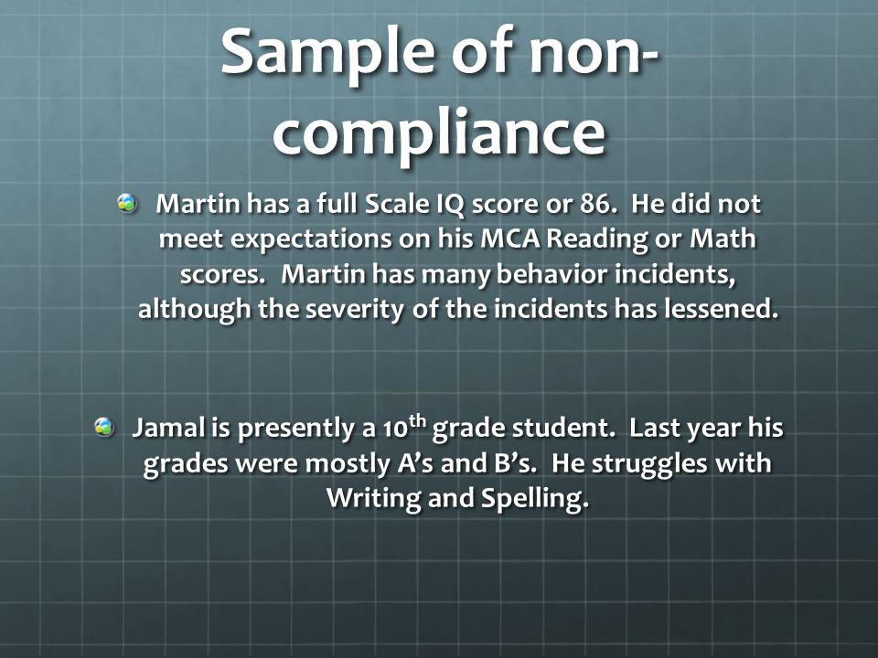 Sample of non-compliance