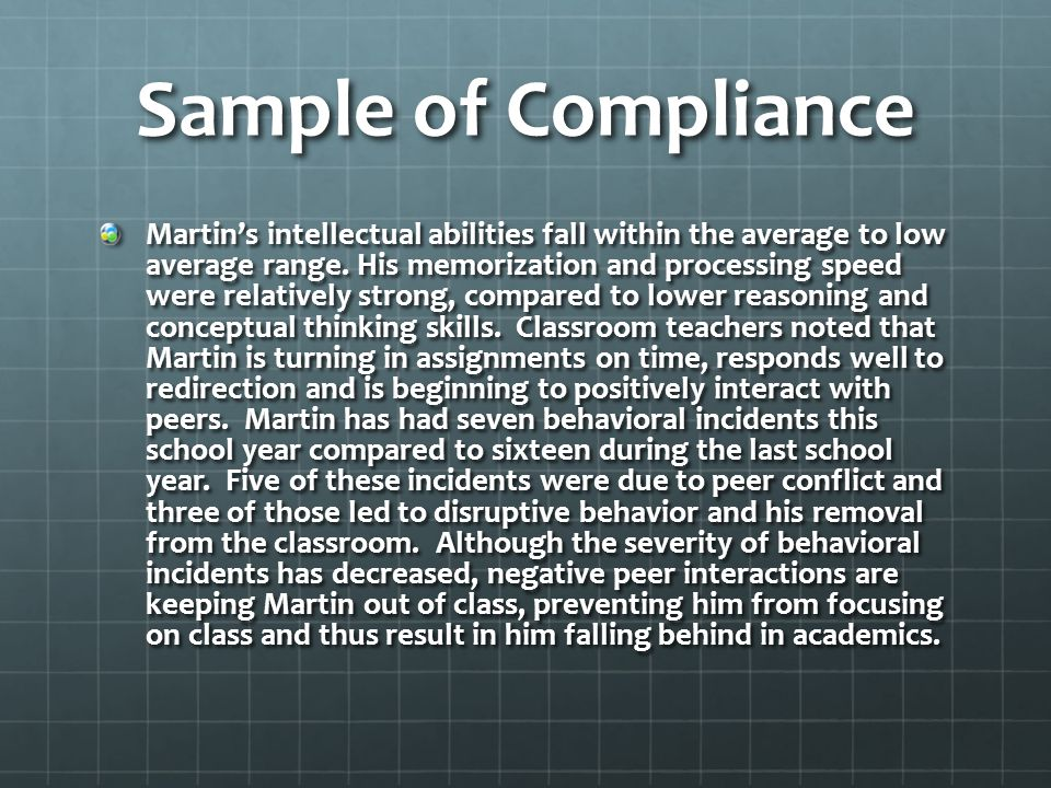 Sample of Compliance
