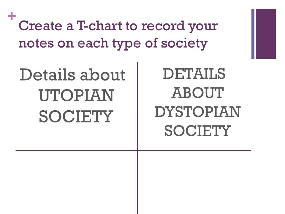 Create a T-chart to record your notes on each type of society