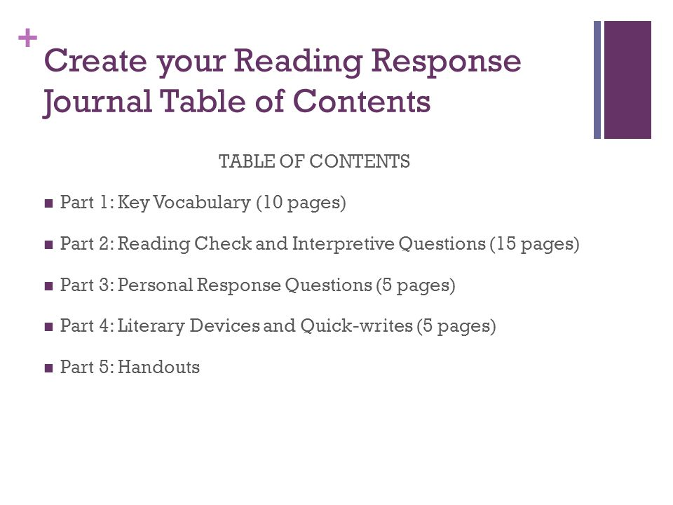 Create your Reading Response Journal Table of Contents