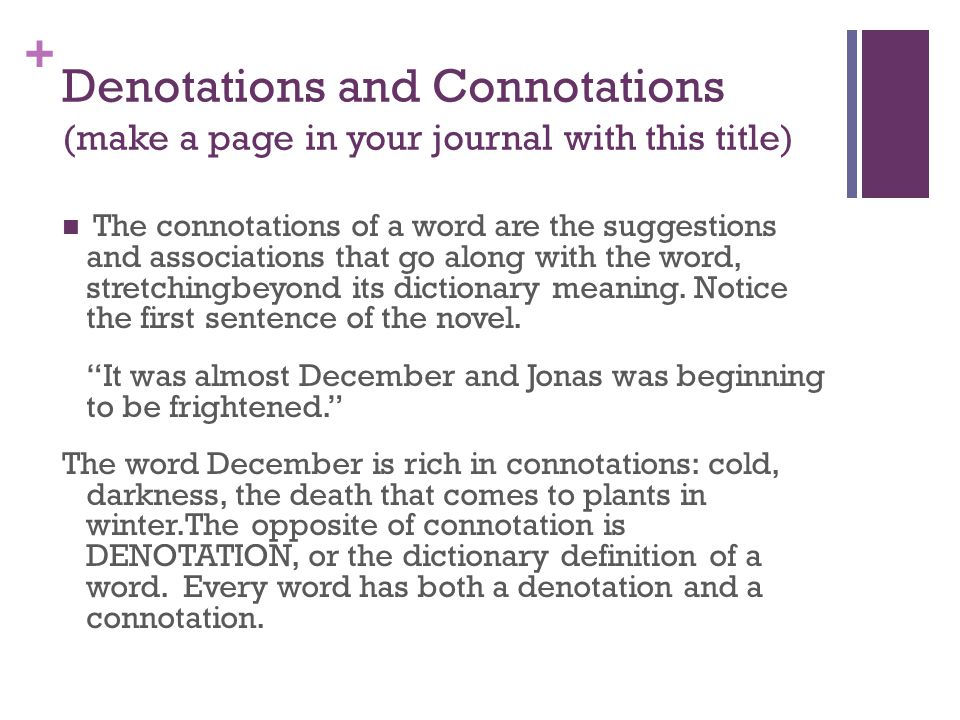 Denotations and Connotations (make a page in your journal with this title)