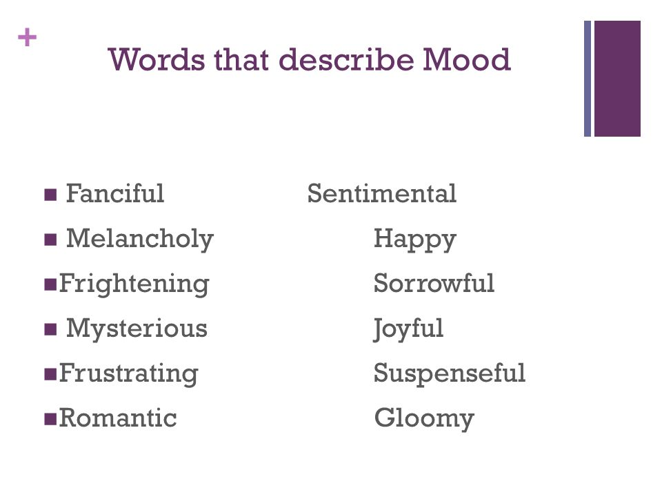 Words that describe Mood