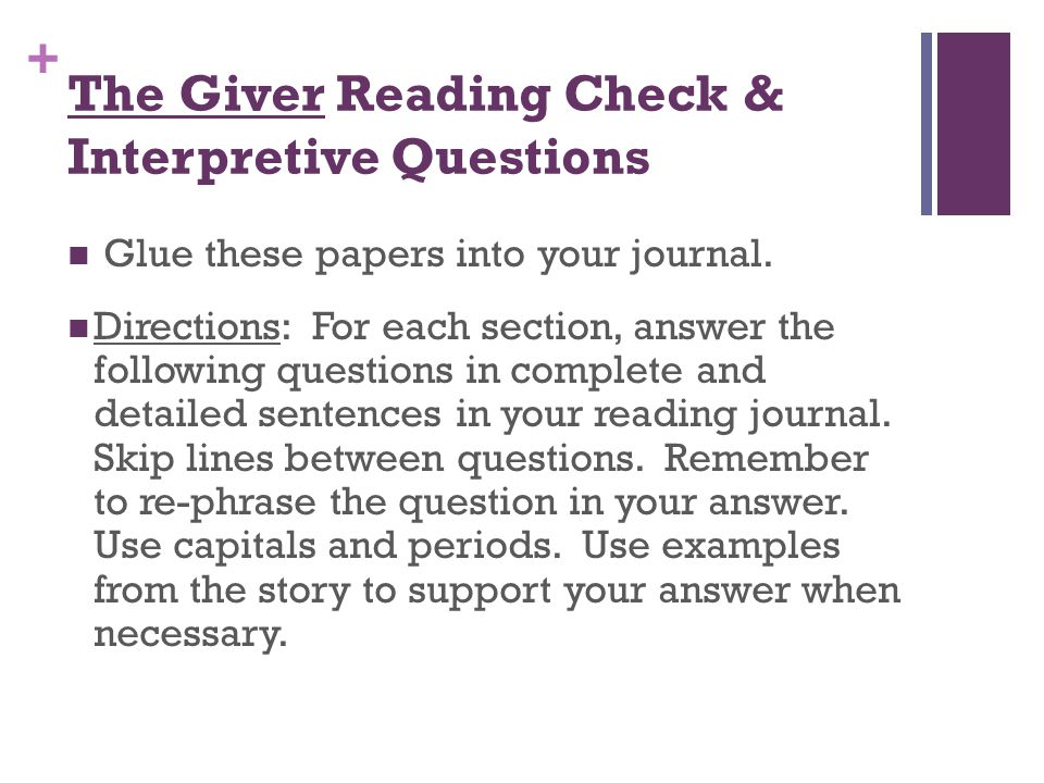 The Giver Reading Check & Interpretive Questions