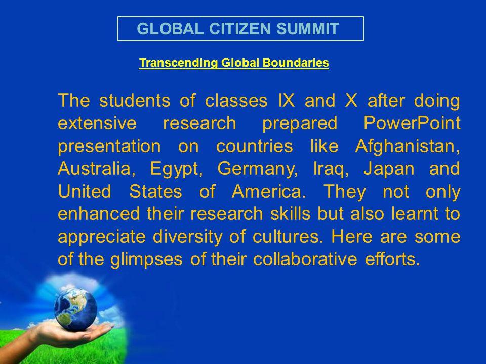 GLOBAL CITIZEN SUMMIT Transcending Global Boundaries.
