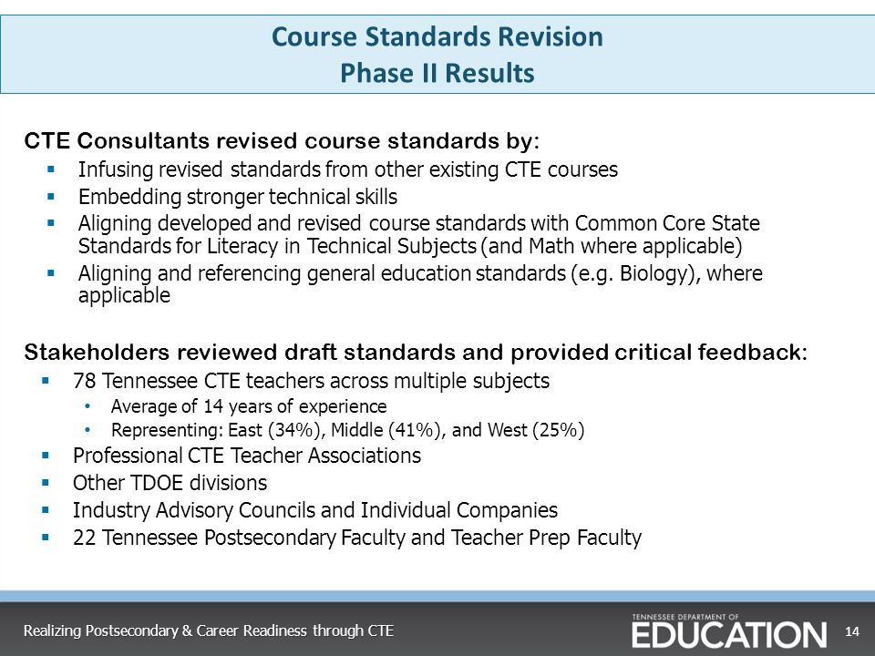 Course Standards Revision Phase II Results