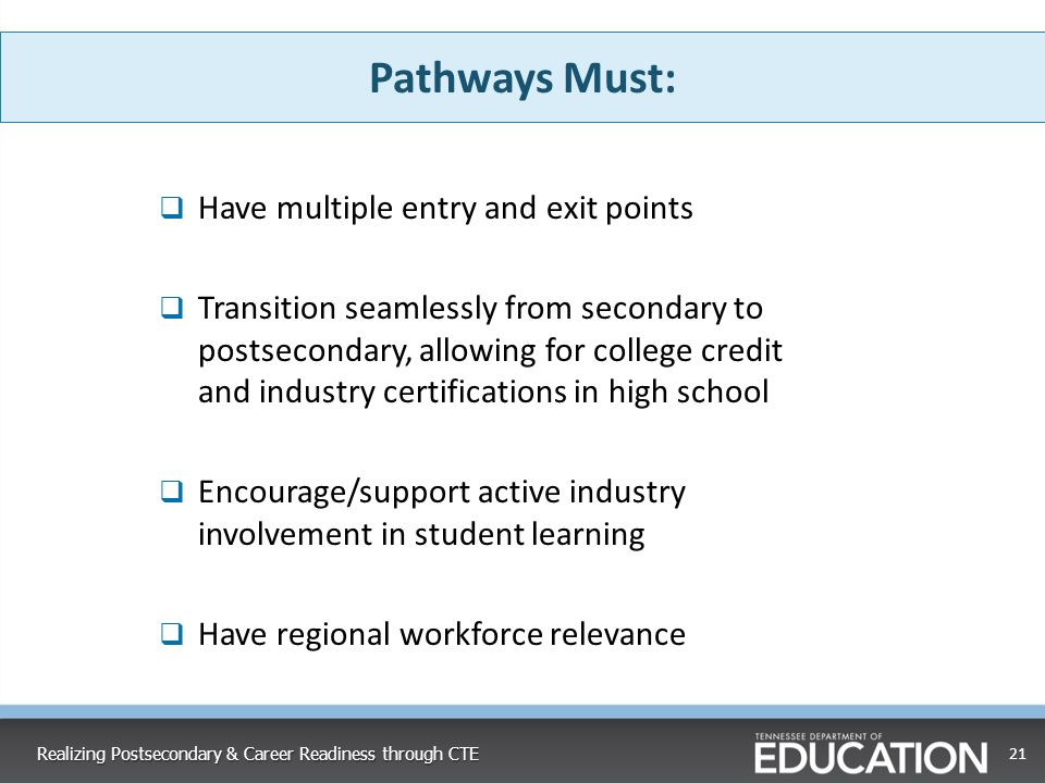 Pathways Must: Have multiple entry and exit points
