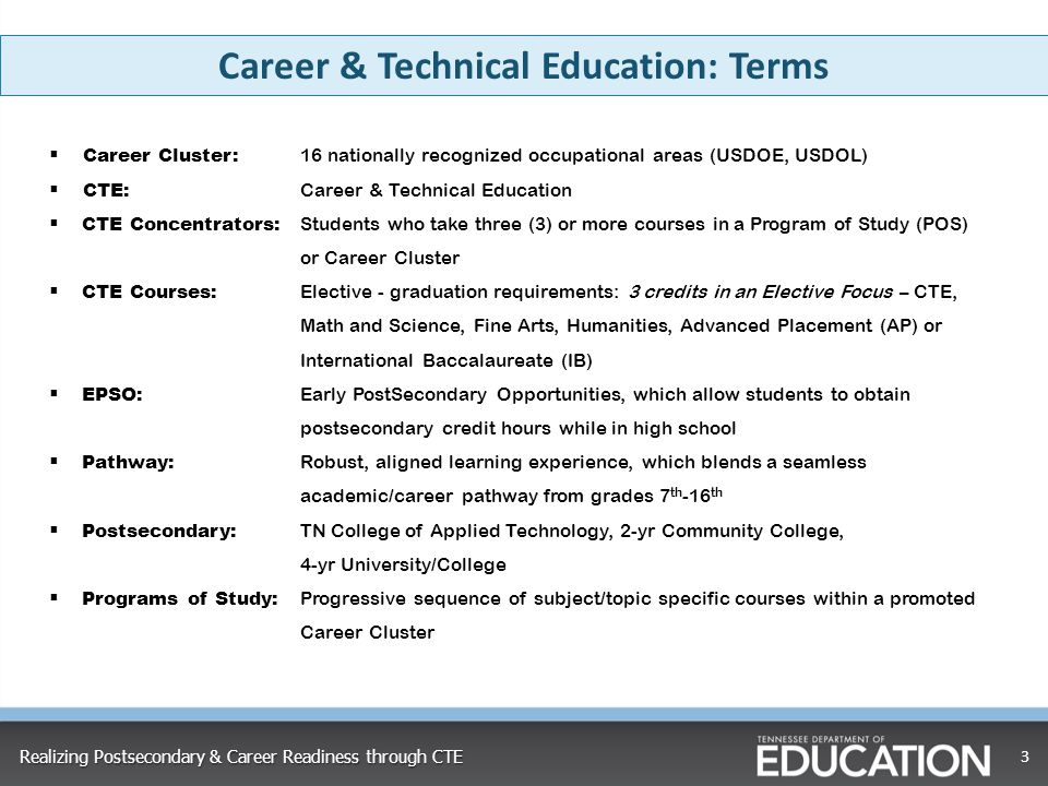 Career & Technical Education: Terms