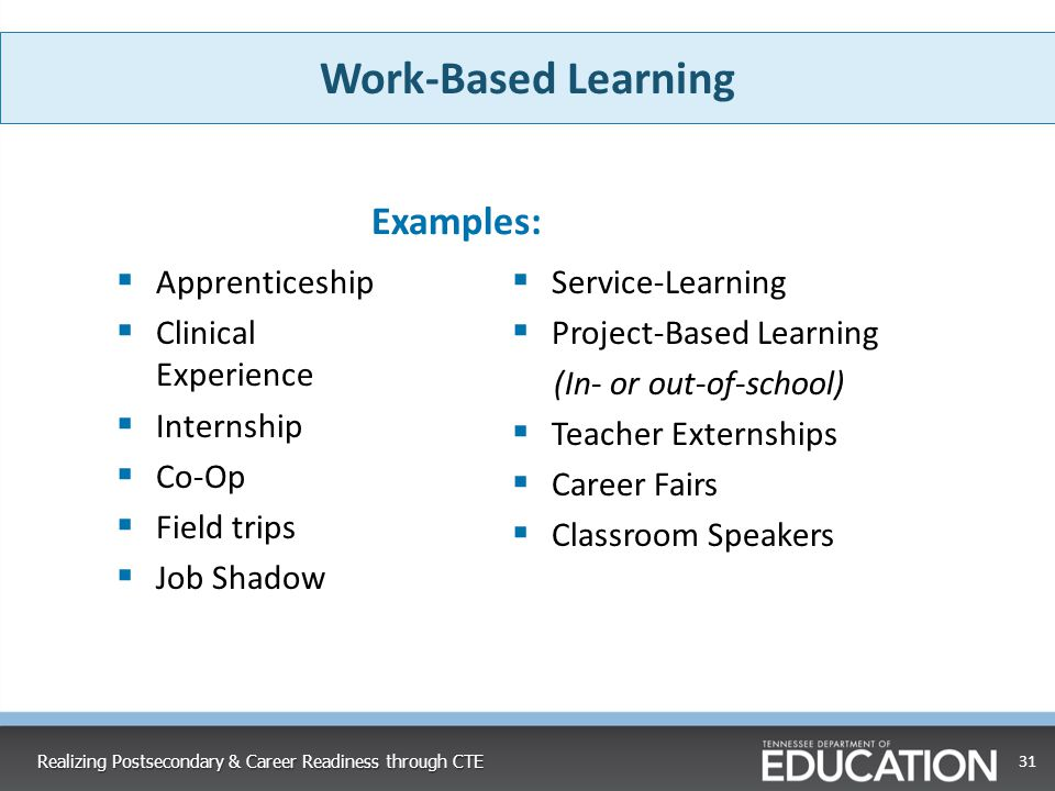 Work-Based Learning Examples: Apprenticeship Clinical Experience