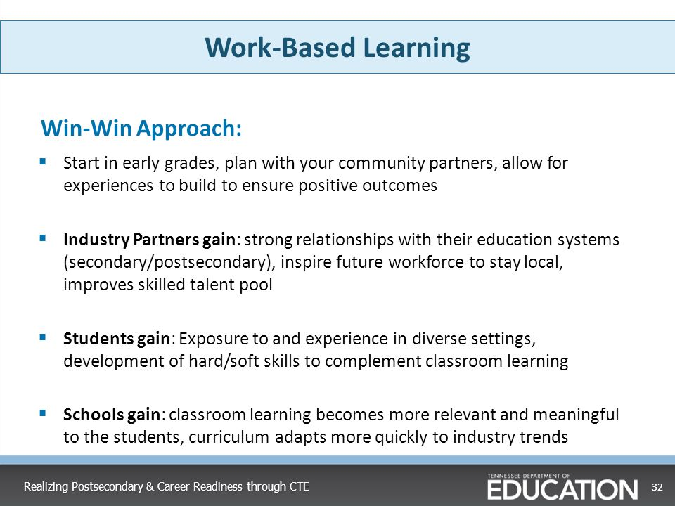 Work-Based Learning Win-Win Approach: