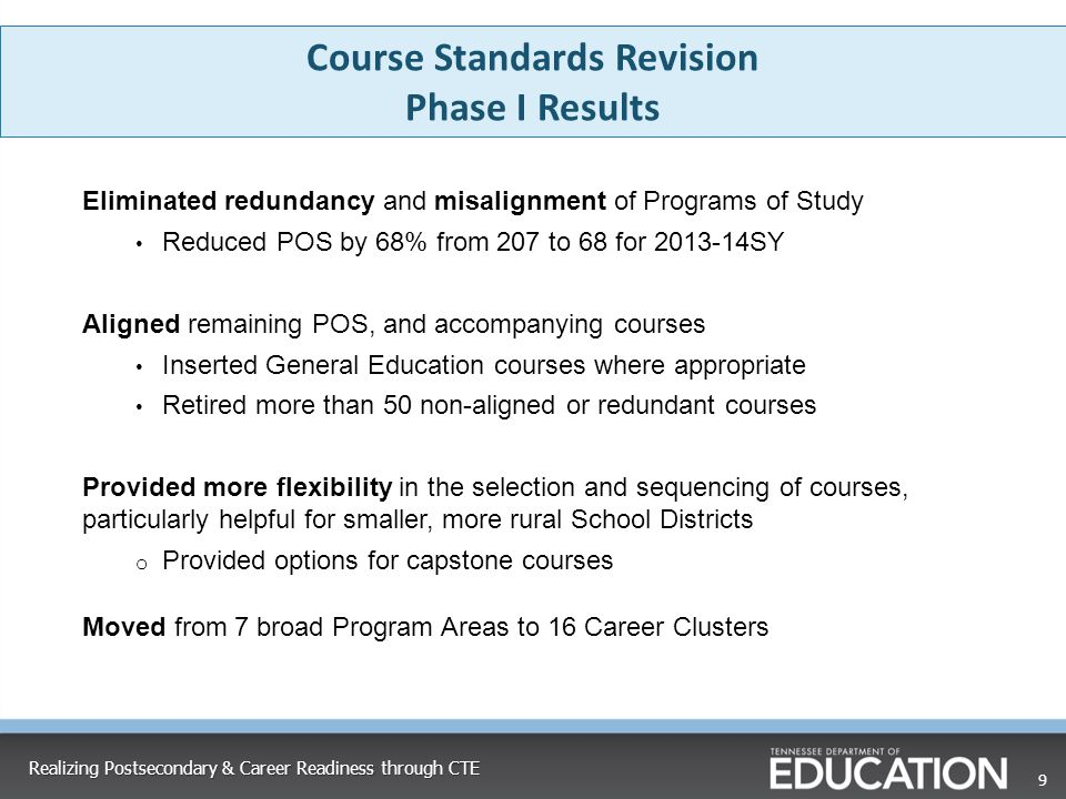 Course Standards Revision Phase I Results