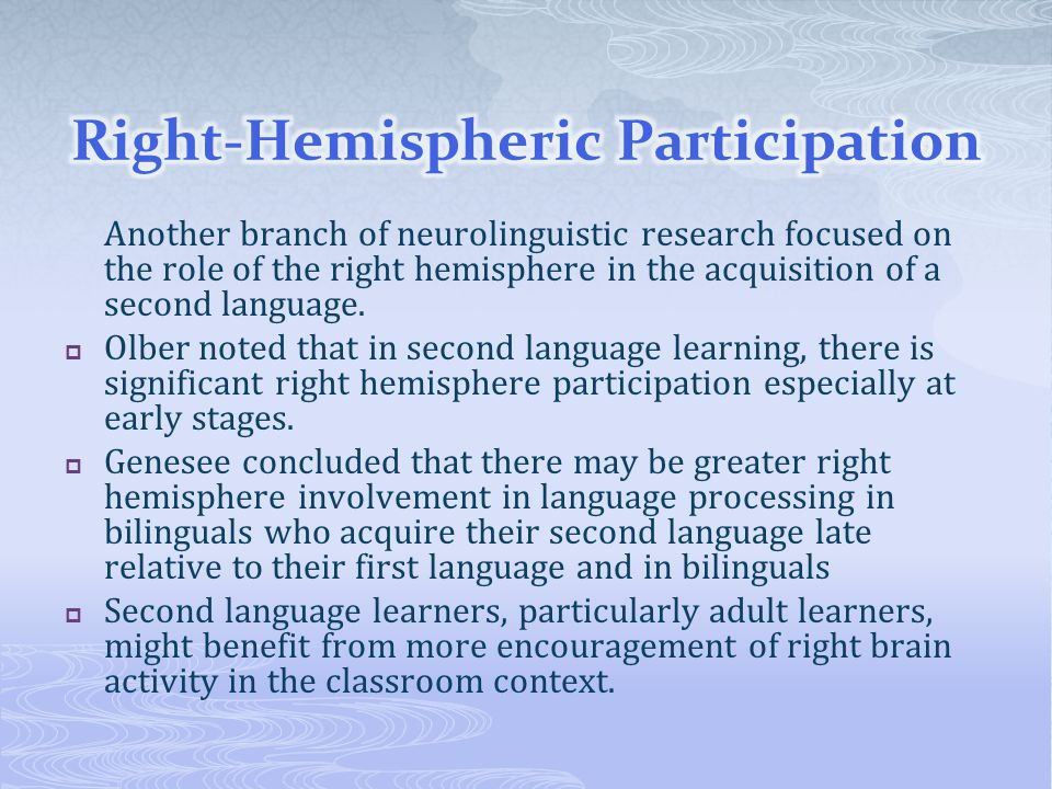 Right-Hemispheric Participation