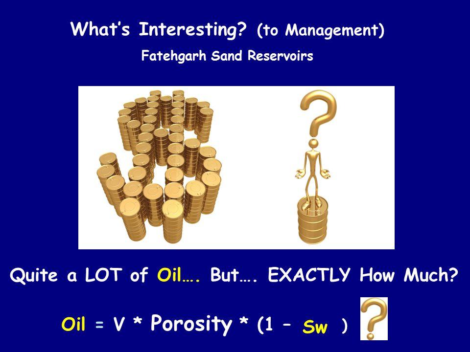 What's Interesting (to Management) Oil = V * Porosity * (1 – Sw)