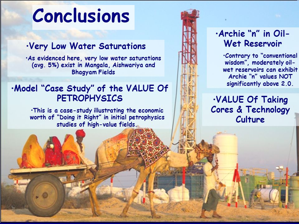Conclusions Archie n in Oil-Wet Reservoir Very Low Water Saturations