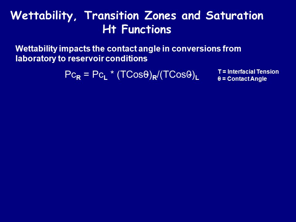 Wettability, Transition Zones and Saturation Ht Functions