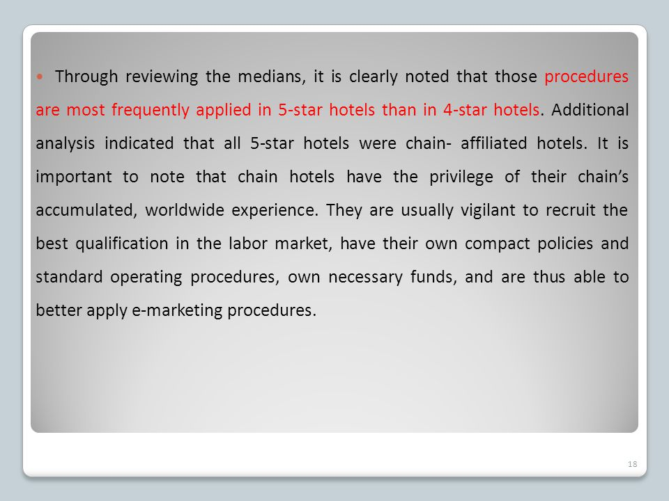 Through reviewing the medians, it is clearly noted that those procedures are most frequently applied in 5-star hotels than in 4-star hotels.