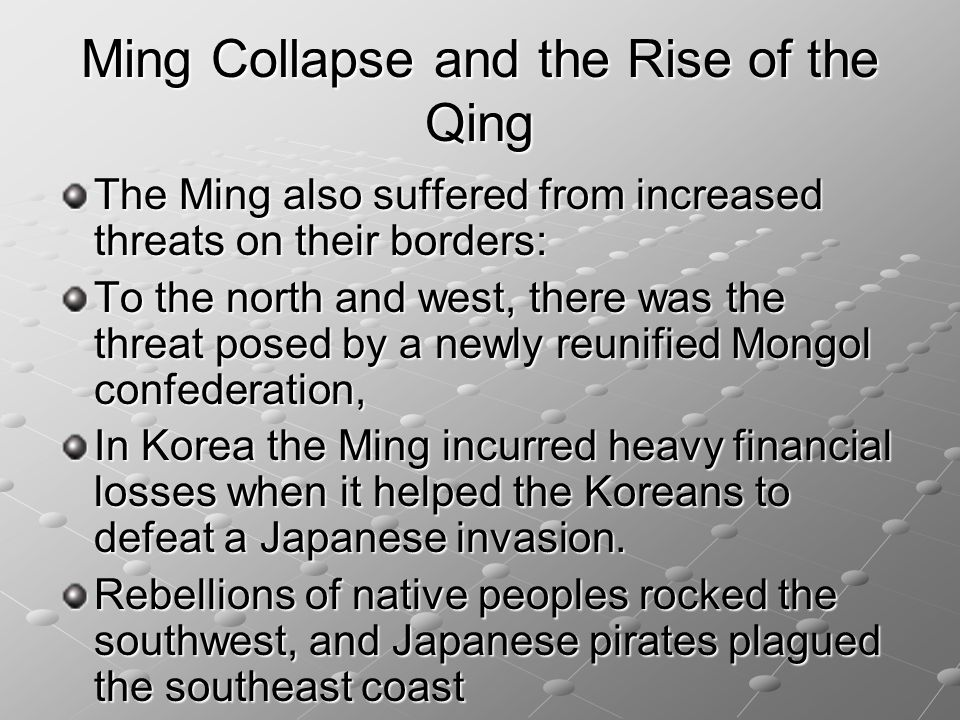 Ming Collapse and the Rise of the Qing