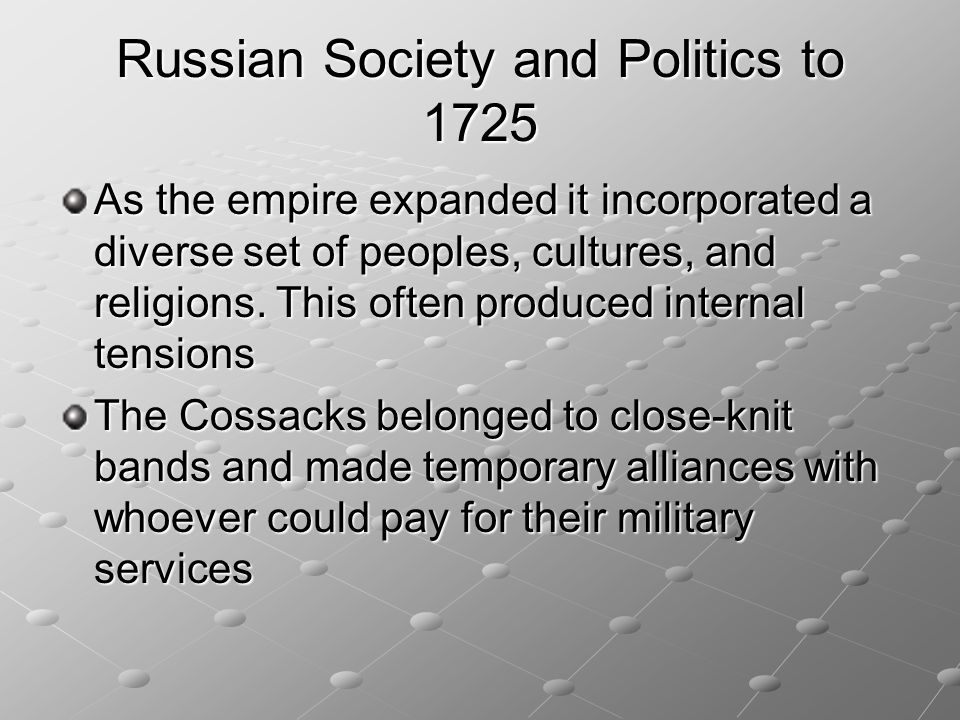 Russian Society and Politics to 1725
