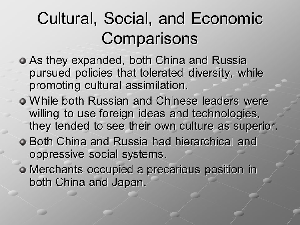 Cultural, Social, and Economic Comparisons