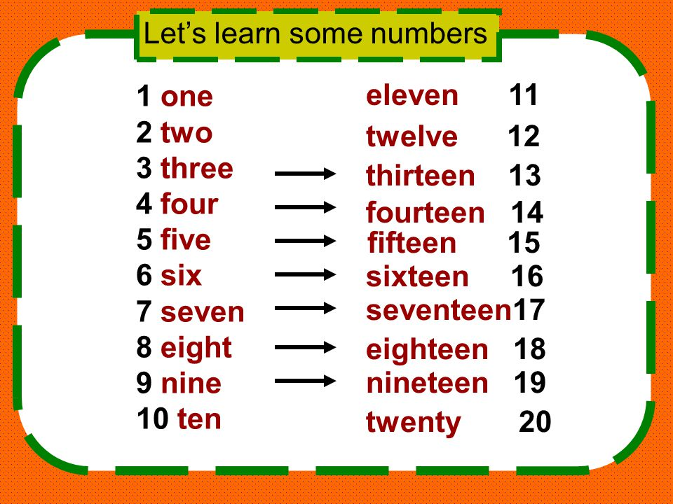 Let's learn some numbers