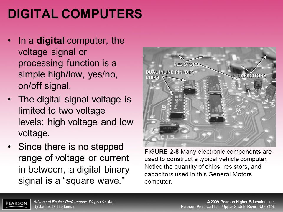 DIGITAL COMPUTERS In a digital computer, the voltage signal or processing function is a simple high/low, yes/no, on/off signal.