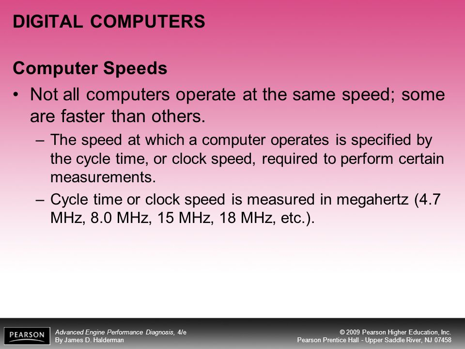 DIGITAL COMPUTERS Computer Speeds