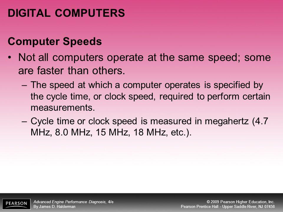 DIGITAL COMPUTERS Computer Speeds