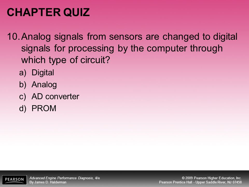 CHAPTER QUIZ 10. Analog signals from sensors are changed to digital signals for processing by the computer through which type of circuit
