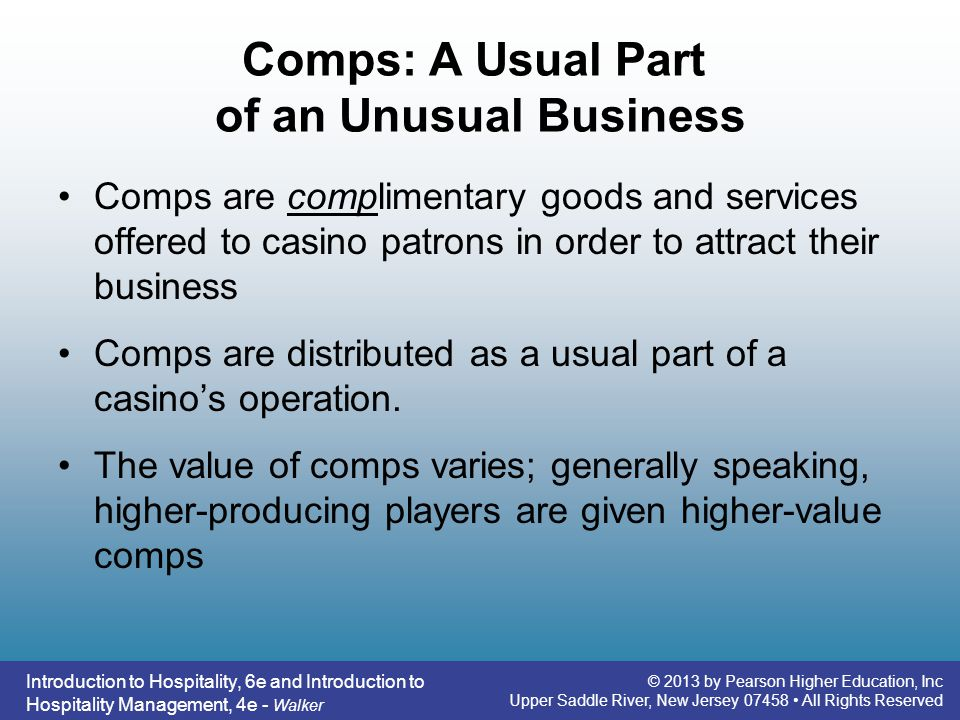 Comps: A Usual Part of an Unusual Business