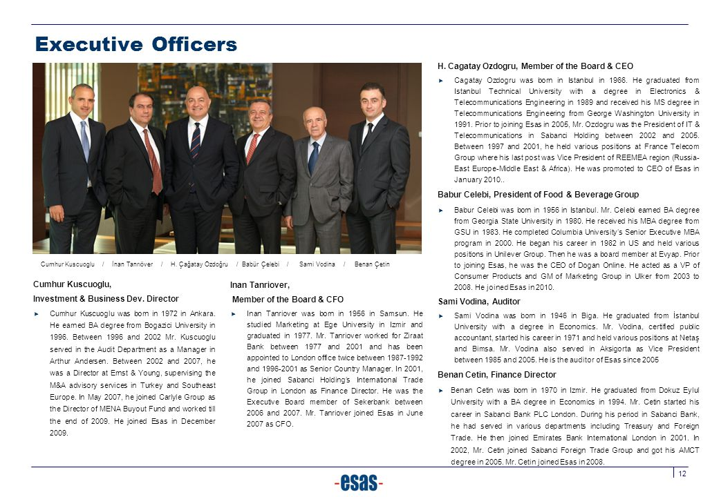 Executive Officers H. Cagatay Ozdogru, Member of the Board & CEO