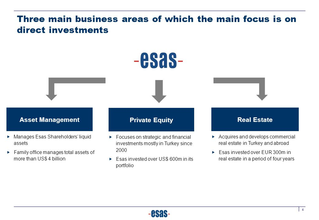 Three main business areas of which the main focus is on direct investments
