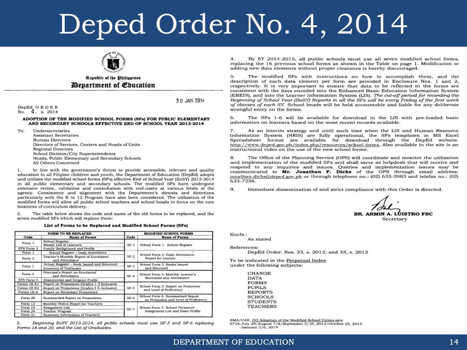 Deped Order No. 4, 2014