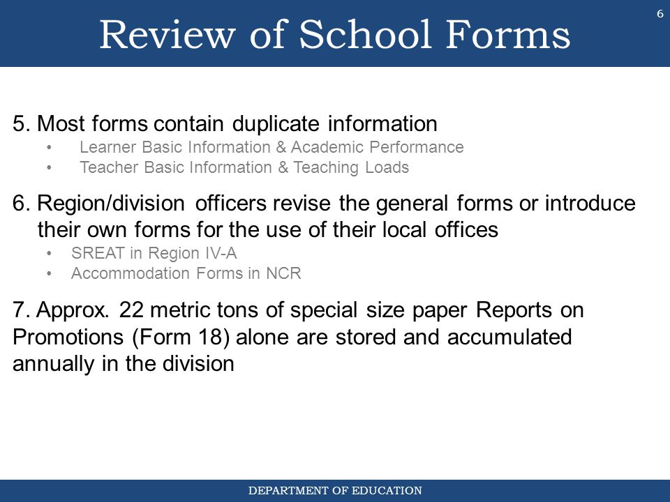 Review of School Forms 5. Most forms contain duplicate information