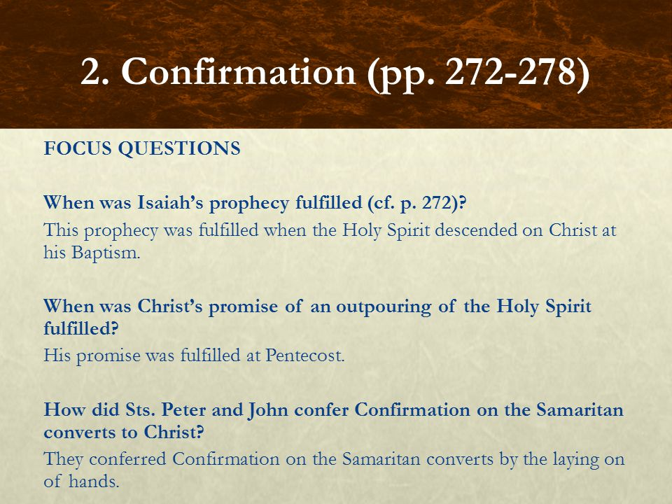 2. Confirmation (pp. 272-278)