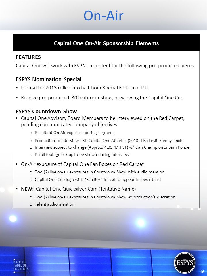 Capital One On-Air Sponsorship Elements