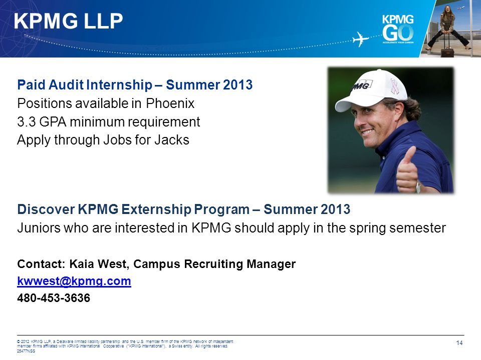 KPMG LLP Paid Audit Internship – Summer 2013