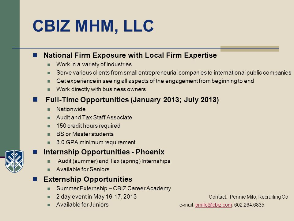 CBIZ MHM, LLC Full-Time Opportunities (January 2013; July 2013)