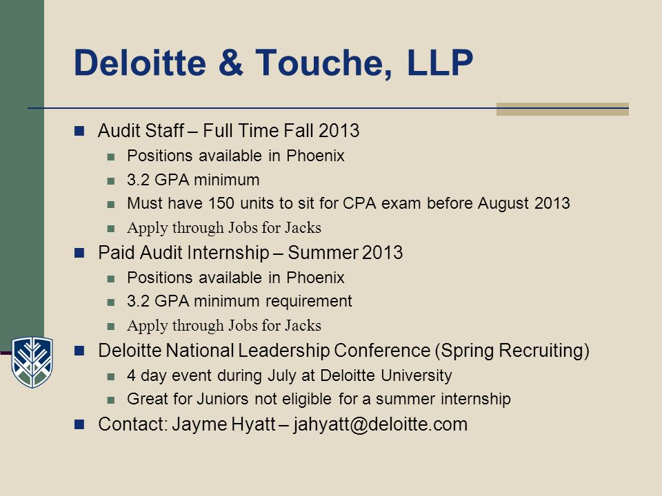 Deloitte & Touche, LLP Audit Staff – Full Time Fall 2013