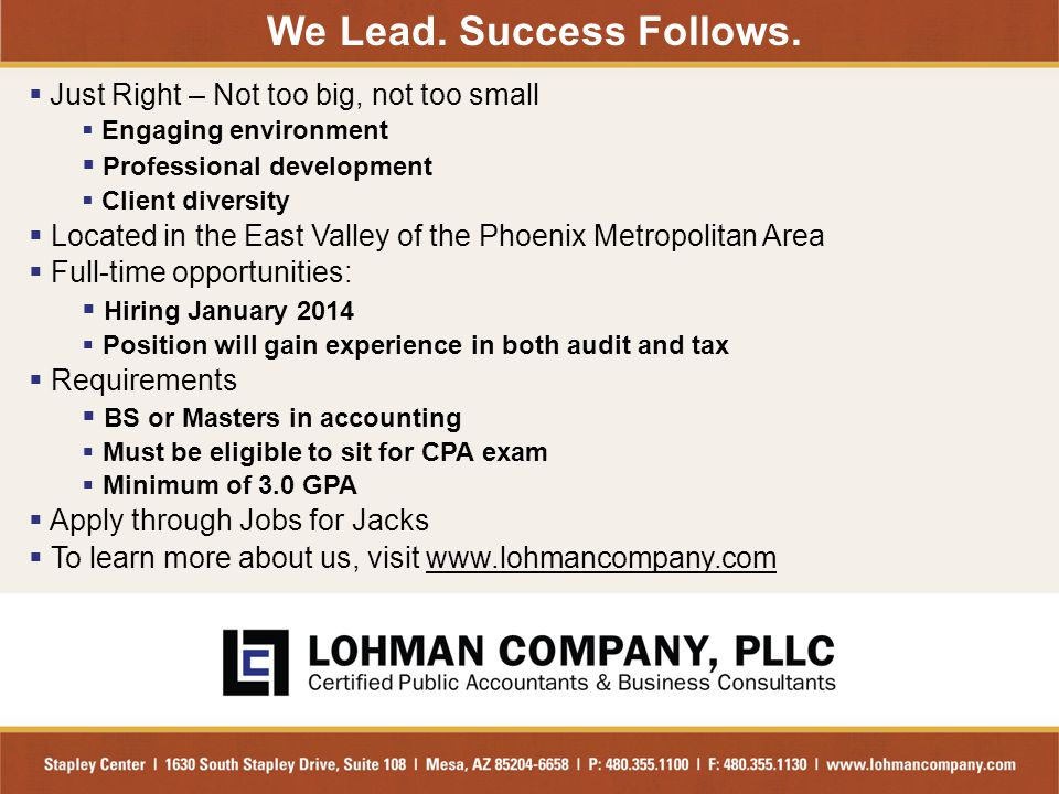 We Lead. Success Follows.