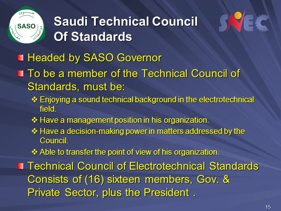 Saudi Technical Council Of Standards