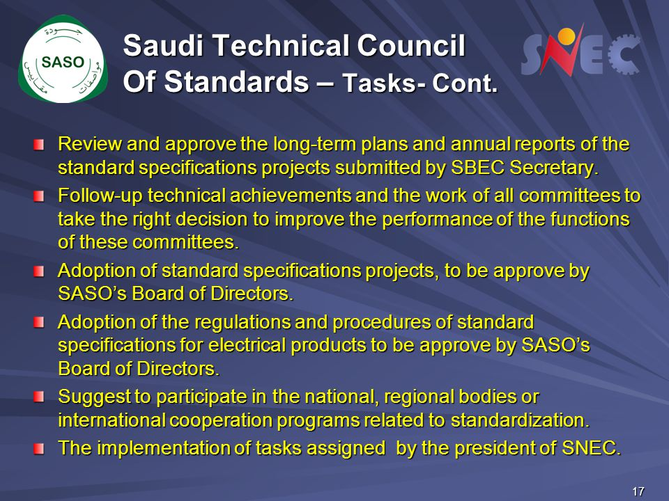 Saudi Technical Council Of Standards – Tasks- Cont.