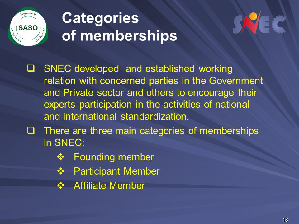 Categories of memberships