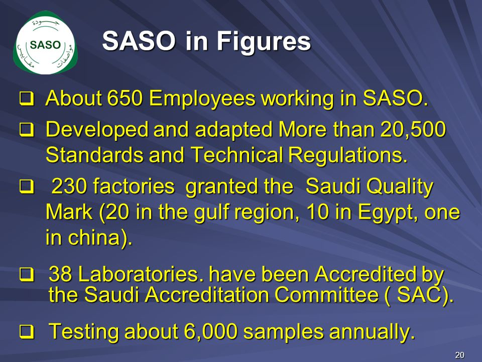 SASO in Figures About 650 Employees working in SASO.