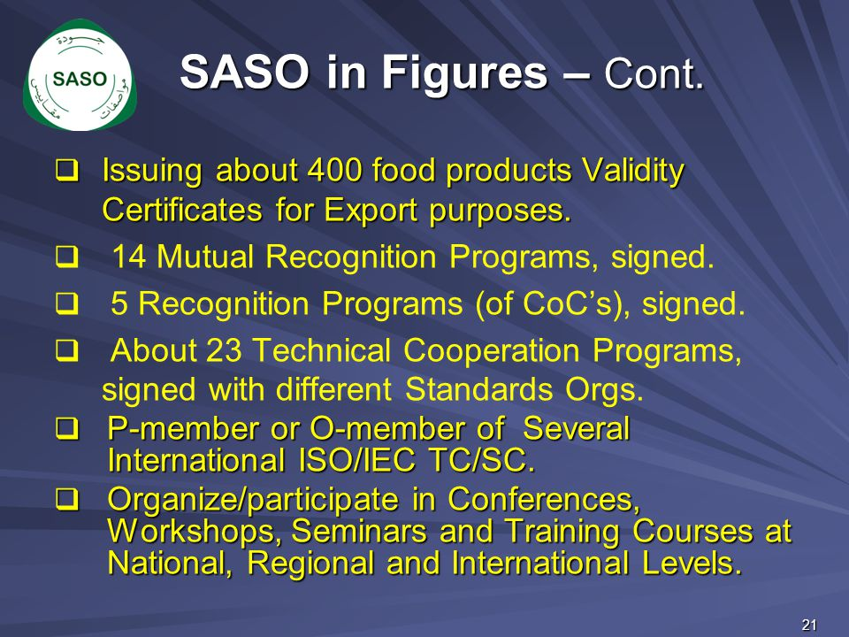 SASO in Figures – Cont. Issuing about 400 food products Validity Certificates for Export purposes.