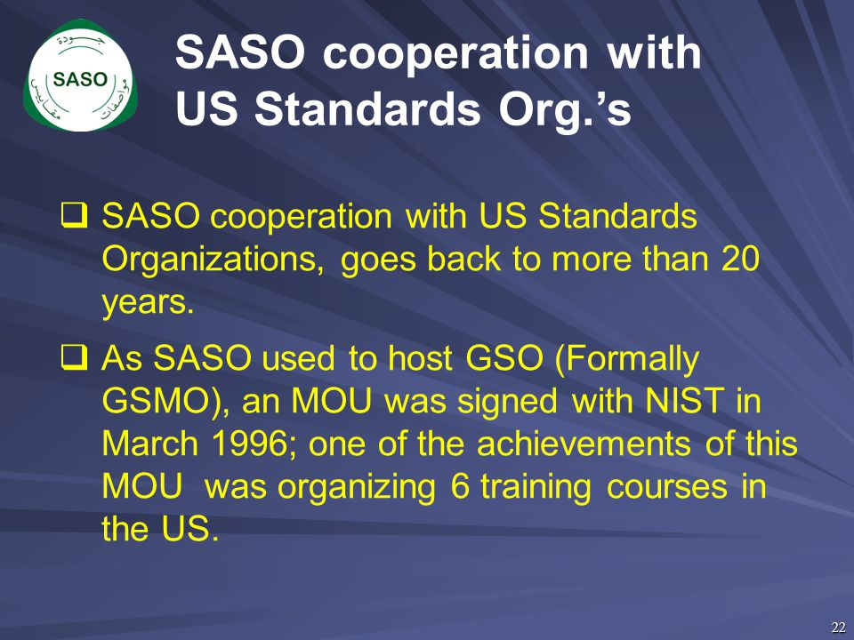 SASO cooperation with US Standards Org.'s