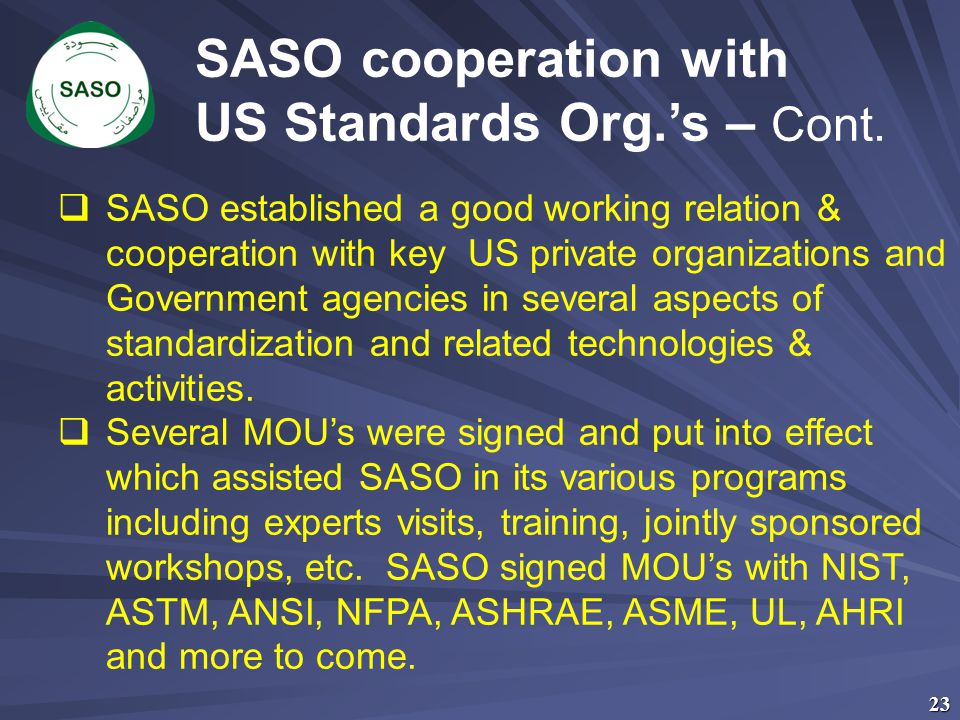 US Standards Org.'s – Cont.