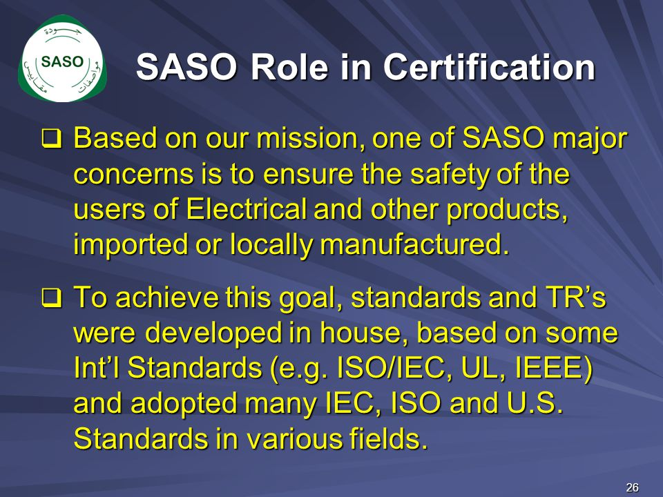 SASO Role in Certification